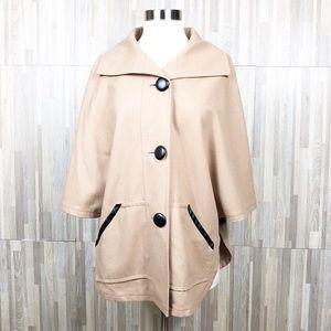 Halogen | S/M Beige 2 Button Cape Coat